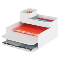 Sleek combination desktop organizer for sorting documents and holding office supplies such as pens, pencils, paper clips and sticky notes. Organizer consists of four stacking components with aesthetically pleasing, rounded corners. 4 piece set includes large supply storage tray, small supply storage tray and two letter size paper sorting trays.