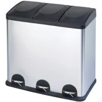 Designed to handle all of your waste, recycling and storage needs. This bin is perfect for the home with a heavy-duty stainless steel frame. The easy, hands-free step pedals allow you to sort your items into removable inner bins. Use this bin to sort recyclables, garbage, laundry detergent or dog food.