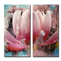 The 'Painted Petals XXIII' canvas art depicts an abstract rendition of a lotus flower in bloom, the vibrant colors accenting the textures creating a cohesive look. This canvas features a floral theme and is gallery-wrapped canvas for a modern look.