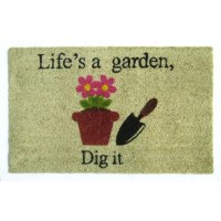 This doormats instantly spruce up your entrance. Featuring potted flowers and hand shovel, this doormat is an excellent enhancement to the entrance to your home. This rectangle-shaped doormat is made of coir and rubber, which makes it long-lasting. It is crush resistant and mildew resistant. This welcome doormat can withstand harsh weather conditions. This doormat is suitable for domestic and commercial use. The eco-friendly design of the doormat causes minimal impact on the environment. You...