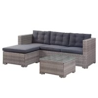 From long Sunday reading sessions to late-night relaxations around the fire pit, this three-piece set helps you make the most of your outdoor space. Each item – a chaise, a sofa, and an ottoman – features an aluminum frame wrapped in resin wicker for a breezy look that resists the effects of inclement weather, while upholstered cushions create an inviting spot to sit. A clear glass top completes the look of the ottoman.