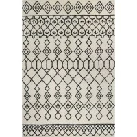 Set down a bold foundation for any ensemble with this eye-catching area rug, featuring a bold geometric motif in Black and Ivory hues. Let it anchor a living room seating group of glass-topped tables and clean-lined seats, then add pillows and throws to the ensemble to tie a boho-chic twist into your upscale aesthetic. For an eclectic master suite, let this design anchor a black-finished metal bed, then arrange glossy stoneware floor vases, pierced ceramic garden stools, and clean-lined chests...