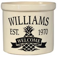 The Pineapple Welcome 2 Gallon utensil Crock is a highly durable, personalized stoneware crock/planter that will add style and personality to any home or business. Use as a house marker or planter for your entryway, or maybe as a decorative accent to your hearth to hold kindling. Makes an attractive container for magazines-newspapers, kitchen utensils; also great for use as an ice bucket or door stop – the possibilities are endless!