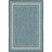 This bordered blue area rug is a great way to set the foundation for your space – both indoors and out! Crafted in Turkey from polypropylene fabric, this rug is water, fade, and stain-resistant, making it perfect for standing up to occasional spills in both your patio dining area or living room. And thanks to its 0.16'' pile height, this rug piece is a great option in high traffic areas since it's easy to clean – just vacuum without a beater bar or spot clean it.
