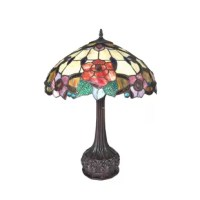 This tiffany style table lamp brings nostalgia atmosphere to any space. This floral artistically marries daisy yellow, ruby red, jade green and translucent art glass in the classic tiffany style. It is perfect for interior spaces with country and European style design.