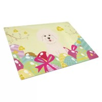 Large Tempered Glass Cutting Board is heat resistant and hand wash only This chopping board is bright and colorful. Made of tempered glass, these unique cutting boards feature artwork from some of your favorite artists prints. 15 inches high and 12 inches long, they will beautify and protect your counter top.. Heat resistant, non skid feet, and virtually unbreakable!