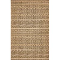 Stylish enough to act as an anchor in the living room and with plenty of muscle to withstand the outdoors, this area rug is a perfect pick for decorating any space! Showcasing a woven geometric pattern, it brings breezy appeal to your ensemble, while its polypropylene fibers make it stain-, fade-, and water-resistant. With a pile height of 0.17'', it's an easy-to-clean essential that switches up your look in a flash.