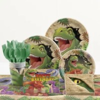 Ideal for your young one's big day, these party items make it easy for you to go the extra mile! Whether you're looking for plates, napkins or a colorful tabletop display at the party, this 81 Piece Dino Blast Birthday Paper/Plastic Tableware has you covered.