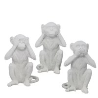 Monkey is often associated with wisdom in Chinese culture. Made of resin, these 3 monkeys of hearing no evil, speaking no evil and seeing no evil sit in an anthropomorphic gesture that is delightful to look at.