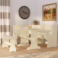 Add a cohesive look to your eat-in kitchen or breakfast nook with this three-piece dining set, crafted from manufactured wood and showcasing a corner side chair, one table, and a dining bench. Its trestle base adds traditional appeal to your decor while its solid finish pairs perfectly with neutral wallpaper for a contrasting look. Lean into this set's transitional influence by adding it to a dining room anchored by a lightly-weathered area rug and illuminated by a polished nickel-hued pendant...