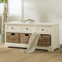 Cut the clutter in your entryway, mudroom, or walk-in closet with this essential storage bench. It features three drawers, and a shelf below, filled with three included baskets. It's perfect for stowing boots and flats below and offering guests a convenient spot to sit down and remove shoes. Made out of solid and manufactured wood, this bench can be easily cleaned with a quick wipe of a dry cloth.
