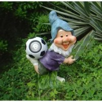 Solar powered gnome playing soccer adds décor element to your patio, garden or restaurant area.