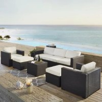 Entertaining outdoors is made effortless with this Seaton 7 Piece Sectional Set with Cushions. This set is stylish and durable thanks to the UV resistant resin wicker, woven over a tough steel frame. The high-grade cushion cores ensure that comfort isn't sacrificed, while their moisture-resistant covers guarantee year-round protection.