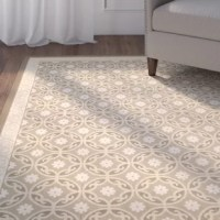 Love spending long summer afternoons outside but hate how hot your patio floors get? This indoor/outdoor rug should help. It's made in Turkey from water- and fade-resistant fabric, so it stands up to the elements while protecting bare feet from sun-baked stone tile. This area rug features a geometric floral pattern with a multitiered, scrolling border, all in neutral tan hues that blend in with nature for a cohesive backyard look. The low pile height and stain-resistant fabric make it easy to...