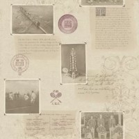 A unique wallpaper composed of old photographs and text clippings from Oxford university. Layers of texture, text, graphics and photographs create a dimensional print.