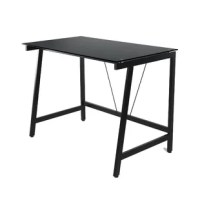 Bring a streamlined style to your home office with this contemporary glass writing desk. Crafted of steel in a clean painted finish, the desk's frame features four flared legs complete with leveler foot caps, while clean-lined stretchers lend added stability and support. Rounding out the design, its clear tempered safety glass desktop strikes a rectangular silhouette, offering plenty of space for displaying your laptop and accessories.