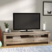 Anchor the den in contemporary style with this streamlined TV stand! Crafted of manufactured wood, this TV stand strikes a rectangular silhouette on chunky side panels. One wide-open shelf is ideal for housing a soundbar or your cable box and entertainment console, while two deep drawers offer out-of-sight storage for A/V essentials. Measuring 19.75