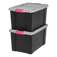 This Store-It-All Plastic Storage Tote is great for keeping your dorm, closet, or garage organized. The lid is designed with a bungee cord or straps to keep the tote secure while in a vehicle trunk or on a shelf.