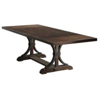 Crafted from acacia veneer and solid hardwood, this table makes a statement in your formal dining room. Wrought iron and solid wood give this large table a strong, substantial base.