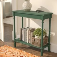 A way to add more storage space in the living room, or a place to craft a guest-greeting decorative display in the entryway? This console table is versatile enough to do either! Crafted from solid and manufactured wood, it's founded atop four turned legs and features a classically streamlined silhouette. An open shelf down below acts as a stage for objets d'art, while the top is the perfect perch for potted plants, family snapshots, and beyond.