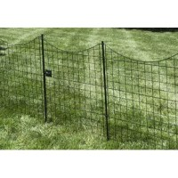This black metal 3.5 ft. H x 3 ft. W Zippity Garden Fence Gate is designed to complement the garden fence. Standing tall, this gate comes with 1 stake and a small latch to attach the gate to the stake. Lift the gate slightly to swing open or close and hook the latch to the stake to secure the gate.