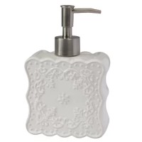 More than just a dispenser for your favorite hand soap or lotion, this piece is an eye-catching focal point in your washroom ensemble! Crafted from porcelain, it strikes a square silhouette with rounded accents and boasts a floral motif for a look that complements any traditional ensemble. And with a neutral white finish, it won't easily clash with your current color palette. Best of all, you can keep this piece clean with a quick wipe from a damp cloth.
