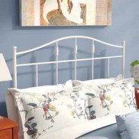 A streamlined take on a traditional design, this open-frame metal headboard effortlessly elevates any bedroom in your well-appointed home. Made from tubular metal in a cottage white finish, this charming headboard includes a slatted rod motif, a gently arched silhouette, and decorative ball finials for a timeless aesthetic. To create a classic ensemble in your guest bedroom, start by rolling out a colorful medallion area rug for a pleasant pop of pattern, then place an espresso-finished...