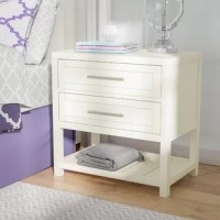 Lend a touch of chic style to your bedside with this elegant nightstand. A perfect partner for contemporary bedrooms, this piece is brimming with sleek sophistication. The clean-lined design and crisp finish give this piece a modern look that can blend in with a variety of settings, while the sleek hardware elevates the look with chic flair. More than just stylish, this design also features two drawers and one open lower shelf for ample space to tuck away your belongings. Use a pair of these...