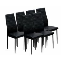 Outfit your formal dining room or eat-in kitchen in contemporary style with this upholstered dining chair set. Founded atop a metal base, this design strikes an updated parsons-style silhouette with a high, gently-curved back and four round, tapered legs. Rich black leatherette upholstery envelopes each chair, while cushioned channel tufting offers ergonomically-designed comfort. Designed to be easy to clean, it can be wiped with a damp cloth. This item arrives in a set of six.