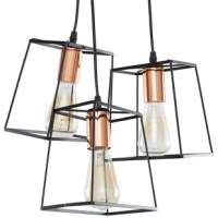 A contoured nautical theme adds a romantic ambiance to any transitional décor. Cap it off with this 3-Light Cluster Pendant. Black and copper finishes over iron bring an authentic and tasteful touch. Dress up an entryway, hallway or dining area with this chandelier.