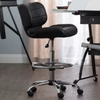 The Crest Low-Back Drafting Chair features a thick, tufted seat and back for added form-fitting support. The striking combination of tufted black vinyl with a chrome base and footrest, make it the perfect modern seating option for your art studio. The 5-star chrome base with dual wheel casters and 360-degree swivel allows you to easily access your entire work space with ease. The pneumatic height adjustment lever allows you to easily sit at a drafting table or standing desk. The height...