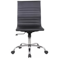 This Karina Adjustable Mid-Back Desk Chair encourages multi-tasking while keeping you comfortable and focused. The environmentally friendly polyurethane leather seats sit upon a durable chrome base, while the armless design allows for movement, phone answering, and general creativity. Keep these chairs in your reception area, shared office space, or classroom for heightened comfort and style.