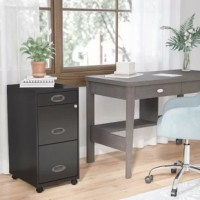 Bring clean-lined looks and effortless utility to your ensemble with this essential mobile file cabinet, the perfect piece for your well-appointed and uncluttered workspace. Set it next to a black-finished wood desk in your home office to match this design's black finish, then open up its three drawers to stow away work supplies, stationery, and more as you work. Featuring a metal design with a four-pointed castered base, this cabinet is equal parts stationary storage solution and mobile safe....