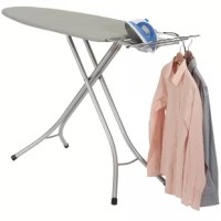 Your laundry and ironing chores will become more enjoyable tasks with the addition of this wide top ironing board. This ironing board combines luxury and effectiveness with its silver steel frame, 4-leg support system and added features.   This ironing board provides an abundance of workspace with its wide top board. As you iron, the durable and sturdy steel mesh top encourages the circulation of heat and steam. An 8mm layer of thick fiber material provides soft padding to prevent wrinkles or...