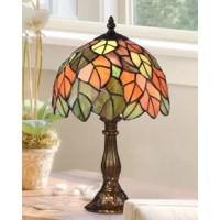 The dome shade features a pattern of lifelike leaves in scarlet, orange and amber overlap each other over the entire surface of the shade to depict a tree in full autumnal splendor that your family and friends can enjoy year round. The meticulously cast base is finished in antique bronze and features reading on the center column and an intricate floral motif on the pedestal. Perfect for dens, offices or bedrooms, this is destined to become a cherished family heirloom to be passed from...