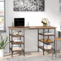 Pairing a black and silver powder-coated metal frame with MDF wood paneling, this understated writing desk brings a low-key and loft-worthy look to any space. Set it against an off-white or gray wall in your home office to complement its warm ash veneer, then outfit the six lower shelves with stacked books and boxes of stationary for a simple storage solution in your workspace. Setting the stage for a gallery-worthy display in the den? Arrange a minimalist and abstract canvas prints on the wall...