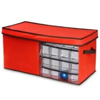 This efficient container provides safe and organized packing of ornaments for after holiday storage. It is constructed of durable stitched seam polyester material with matching lid and convenient carry handles. The piece contains removable clear polymer trays that rest on top of each other. Container features a half side clear window for viewing contents.