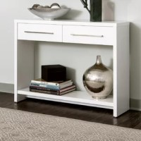 Accent your décor with this Console Table that features two drawers. Add this sturdy sofa table to your living room, entryway, hallway, bedroom or anywhere in your home for the perfect stylish touch. Featuring a front and back finish for versatile display options, a bottom shelf and 2 drawers with eye-catching bar pull.