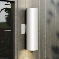 This 2 light outdoor wall fixture in white enhances the beauty of your property, makes your home safer and more secure, and increases the number of pleasurable hours you spend outdoors. This outdoor collection is designed to direct light right where you need it. Choose from three finishes, several different laming options and multiple styles-some with optional baffles-to get the right look for your application.