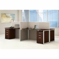 Get a complete solution with the Bush Business Furniture Easy Office 60W 4 Person Straight Desk for the perfect multiuser workspace. These preconfigured workstations combine four individual 60W desk areas with a common panel wall and side panel dividers. Each Easy Office Straight Desk attaches to sturdy, 45H panels, which serve as a barrier between spaces, with a side panel wall divider and an open end which encourages collaboration. The thermally fused laminate work surfaces feature superior...