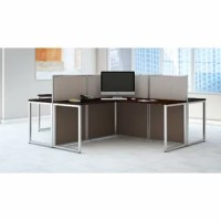 Choose the perfect multiuser workstation that fits your space and budget comfortably with the Bush Business Furniture Easy Office 60W 4 Person L Shaped Desk. By combining individual work areas with common center panel walls, the Easy Office 60W Desks attach to all sides of the sturdy, 45H dividers. The L Shaped Desks then expand in a right or left handed position by adding the 36W Returns to each work area. These thermally fused laminate work surfaces provide superior resistance to scratches...