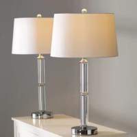 The cylinder glass table lamps are sure to brighten up anyone's home. These lamps feature a clear cylinder glass base. With a white polyester shade and a clear cylinder glass base, it will complete the appearance of any room.
