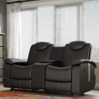 Anchor your favorite seating space in wow-worthy style with this double-glider reclining loveseat, wrapped in bonded leather and showcasing adjustable headrests. Its stitched details add a touch of contrast against the solid color upholstery, while its race-car inspired design brings visual appeal to any aesthetic. Play up this piece's contemporary influence by adding it to a living room seating group alongside wingback armchairs and a foam-filled sofa for a cozy and cohesive ensemble, then...