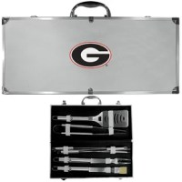 This product and have sturdy stainless steel handles. The aluminum carrying case features a metal carved Arkansas Razor back emblem with enameled finish.