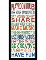 'Playroom Rules' Framed Textual Art Print on Wood will look great in any part of your home or spruce up your office decor hardwood composite molding framed using plexiglass for protection. Single mat packaged to arrive in perfect condition.