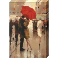 'Sweet Surprise' Graphic Art Print on Canvas is a romantic figuartive Cityscape capturing a rainy day afternoon.This gallery wrapped canvas art print is made in the U.S.A. using the finest canvas, inks, moudings and Epson printers.