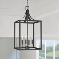 Minimalist, contemporary style and modern farmhouse design combine in this four-light foyer Chandeliers. Constructed from straps of steel in a dark finish, this future features an open, clean-lined rectangular frame with a curved, pitched roof. Inside, four streamlined, candle-style lights extend from a slender down rod, each topped with a 60 W torpedo bulb (not included) for a touch of modern appeal. Rounding out the design, an adjustable length of chain suspends the unit from a sloped...