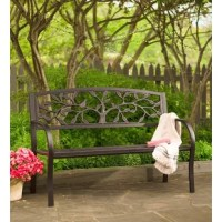 The Tree of Life Metal Garden Bench makes any space a lovely place to sit and reflect on the beauty of nature. This sturdy, full-sized garden bench has a powder-coated steel frame with a cast-iron back detailed with a graceful tree and birds. The tree of life is a symbol that represents the interconnection of all living things. That's why their bench belongs in the most serene spot of your garden.