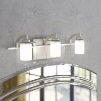 Clean-lined and contemporary, this three-light vanity light brings a touch of streamlined style as it boosts the brightness in your bathroom. Spanning just 21
