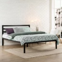 With its clean lines and open design, this platform bed is brimming with modern minimalism. Crafted from steel, this piece sports a black finish that's versatile enough to complement any color palette you dream up. A system of slats below props up your preferred mattress without the help of a box spring. Best of all, you can tuck away bins and boxes below thanks to 12